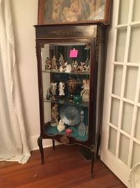 Antique French curio cabinet with ormolu details