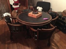 Vintage 1970's game table and 4 chairs set.  A game of 42 would go good on this set
