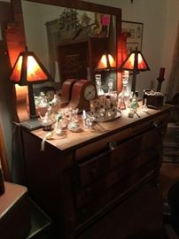 Early 1900's Empire revival dresser with matching mirror