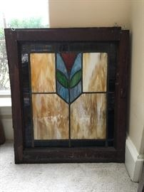 Matching pair of antique stained glass windows in excellent condition