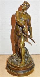 GAUDEZ, 1845 - 1902,  DEFENSE DU FOYER BRONZE SCULPTURE