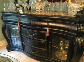 Beautiful Sideboard/Buffet with 5 Drawers and 2 Glass Doors with a Marble Top