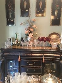 Beautiful Buffet/ Sideboard with Gold Accents & Marble Top