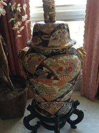Several Lovely Ginger Jars, Urns & Jardinieres on Wooden Stands