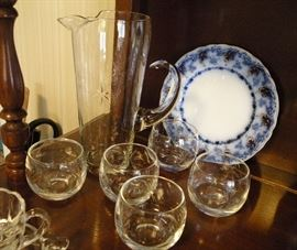Vintage cocktail set. One of three flow blue plates.