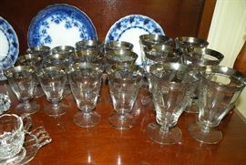 Vintage Tiffin-Franciscan Rambler Rose Platinum encrusted stemware