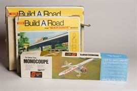 Vintage 1967 Matchbox Build A Road Track Set, Vintage Monocoupe Wood Plane Model