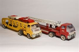 Vintage Tonka Car Transporter, Vintage Red Tonka Fire Ladder Truck