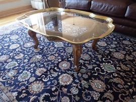 BRASS / GLASS WOOD BASE COFFEE TABLE