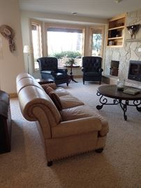LEATHER RECLINERS / LEATHER SOFA / COFFEE TABLE / SIDE TABLES