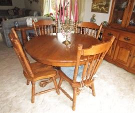 Wooden dining room table & chairs, China hutch