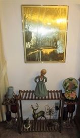 Display/plant stand, vintage pictures, collectibles