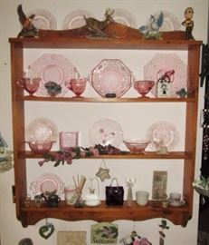 Wall shelf, Pink depression glass, misc. figurines, collectible glass/porcelain