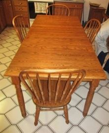 Harvest table size, wooden rectangular table & chairs