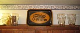 Fleming's Ice Cream tray, Coke glasses