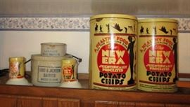 Jackson Advertising stoneware butter crocks, vintage potato chip tins