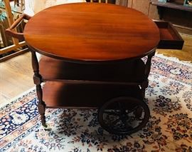 Tea Cart with both leafs up and drawer open.  Very nice!