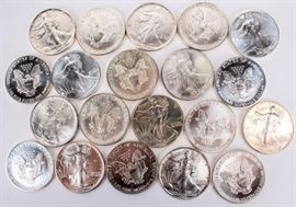 Lot 97a - Coin 1991 Silver Eagles 20 Coins Brilliant Unc.