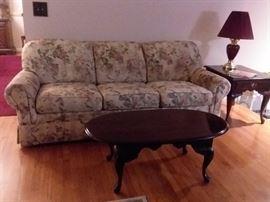 Upholstered floral sofa