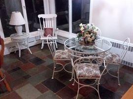Wrought iron glass top patio set