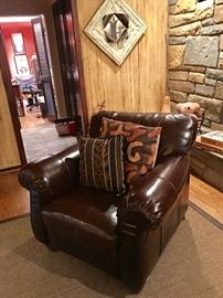 Pair brown leather arm chairs (mint condition)
