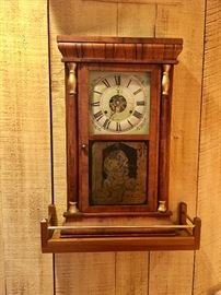 Antique tiger maple wall clock w/galley
