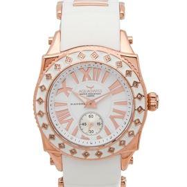 Aquaswiss SwissSport 24 Diamond Bezel Stainless Steel Wristwatch: An Aquaswiss SwissSport 24 quartz wristwatch featuring diamonds to the bezel, rose-tone stainless steel case, and white rubber band.
