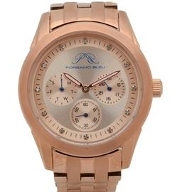 Porsamo Bleu Diana Diamond Dial Copper-Tone Stainless Steel Wristwatch: A Porsamo Bleu Diana wristwatch featuring diamond hour markers, sub-dials, and copper-tone stainless steel.