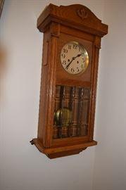 "Diese Schraube Antique Oak German Time & Strike Case Wall Clock. 31"" Tall  X 14"" Wide"