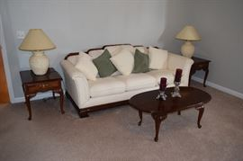 Bassett Sofa and Cherry Tables