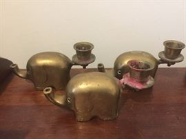 Brass elephant candle holders
