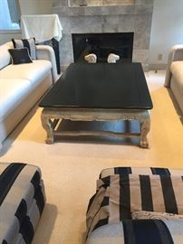 "Minton Spidell large scale coffee table  black top 60"" x 42"" x 13.5""h asking $400"