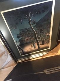 One of a pair of beautifully framed pieces from Japan
