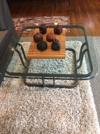 "Square coffee or side table  with beveled glass top on an metal base 37.5"" x 15""h asking $160"