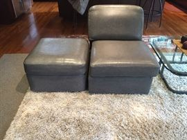 Grey leather chair and ottoman sit atop a Thomasville 8' x 10' rug.  Asking $300 for the Tango Shag carpet and $80 for the chair and ottoman