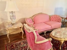 French Provincial living room set with pink marble