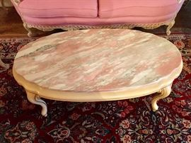 French Provincial  coffee table with pink marble