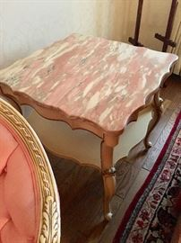 French Provincial  sofa table (two of two) with pink marble