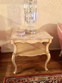 French Provincial  sofa table (one of two) with pink marble