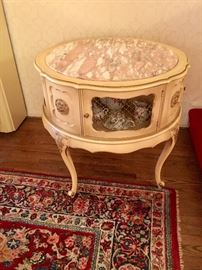 French Provincial  table with pink marble