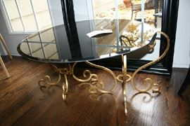 Gilded Italian Cocktail Table with Choice of Two Small Clear Glass Tops for Two Tables or Large Black Glass Top for One.