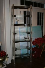 Chic 60's Era Lucite & Wood Shelving Unit.