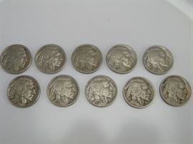 10 Buffalo Nickels