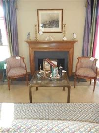 Living Room:  One chair sold as did the hunt scene.  Brass/glass table is still available as are most of the accessories shown.