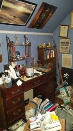 Desk, Bric-a Brac Shelves & More