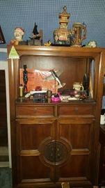 Asian Inspired Shelf Unit & Decorative Items