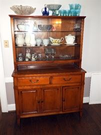 """Mid-Century China Hutch With Glass Doors, 64.25""""H x 42""""W x 17""""D"""