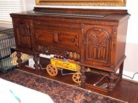 """Intricately Carved Old English / Jacobean Buffet / Sideboard, 41""""H x 65.75""""W x 21""""D"""