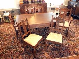 Intricately Carved Old English / Jacobean Dining Room Table And Matching Chairs, Qty 2 Captain's Chair, Qty 4 Dining Chairs