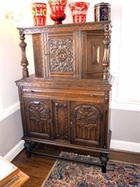 """Intricately Carved Old English / Jacobean Court Cabinet / Sideboard / Buffet / Hutch, 60.5""""H x 40""""W x 18""""D"""